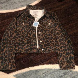 Leopard print jean jacket